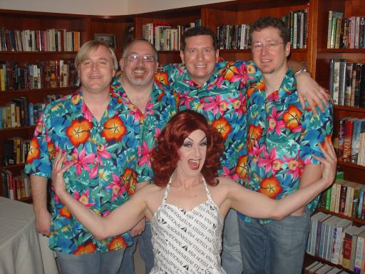 Trauma Flintstone with the fratboys: Kevin, David, Tim, Jonnie